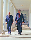 United States President Bill Clinton and Prime Minister Yitzhak Rabin of Israel walk on the Colonnade of the White House in Washington, DC en route to the Residence on March 12, 1993.<br /> Credit: Robert Trippett / Pool via CNP