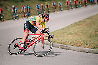 yellow jersey / GC leader Stefan K&uuml;ng (SUI/BMC) descending<br /> <br /> Stage 5: Gstaad &gt; Leukerbad (155km)<br /> 82nd Tour de Suisse 2018 (2.UWT)