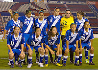Guatemala team starting eleven at the 2010 CONCACAF Women's World Cup Qualifying tournament held at Estadio Quintana Roo in Cancun, Mexico.