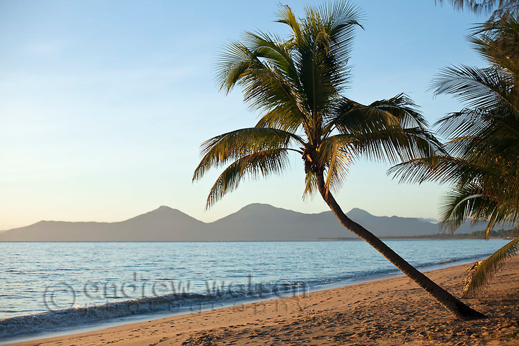 View along Holloways Beach at dawn.  Cairns, Queensland, Australia