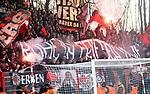 15.02.2020, Stadion an der Wuhlheide, Berlin, GER, 1.FBL, 1.FC UNION BERLIN  VS. Bayer Leverkusen, <br /> DFL  regulations prohibit any use of photographs as image sequences and/or quasi-video<br /> im Bild Leverkusener-Fanblock mit Pyro<br /> <br /> <br />      <br /> Foto © nordphoto / Engler