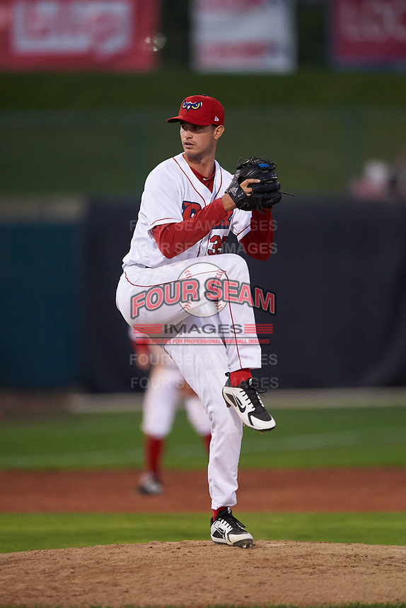Orem Owlz relief pitcher Matt Bower (35) during a Pioneer League game against the Idaho Falls Chukars at The Home of the OWLZ on August 13, 2019 in Orem, Utah. Orem defeated Idaho Falls 3-1. (Zachary Lucy/Four Seam Images)