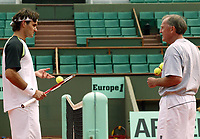 Unknown date: Roger Federer with Trainer Tony Roche Australia
