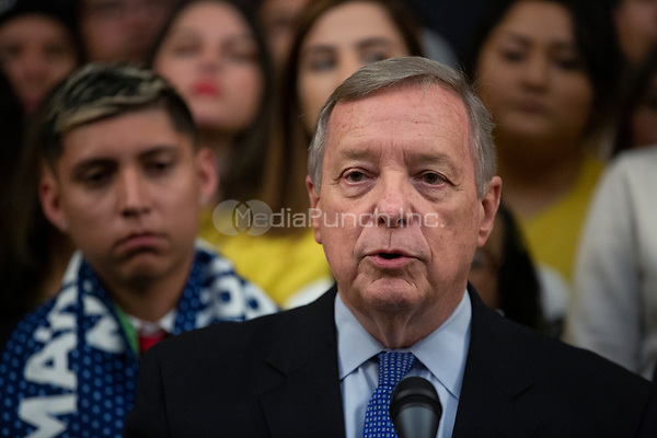 United States Senator Dick Durbin (Republican of Illinois), joined by other Democratic lawmakers, speaks during a press conference on the Deferred Action for Childhood Arrivals program on Capitol Hill in Washington D.C., U.S. on Tuesday, November 12, 2019.  The Supreme Court is currently hearing a case that will determine the legality and future of the DACA program.  <br /> <br /> Credit: Stefani Reynolds / CNP /MediaPunch