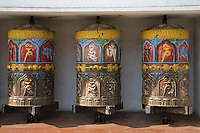 Tibetan Prayer Wheels -Swayambhunath Temple is one of the liveliest Buddhist temples in Kathmandu if not all of Nepal. Many Tibetans live in the area, and make their daily 'kora' or procession around the temple, turning prayer wheels as they pass