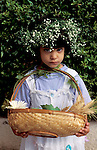 Israel, a girl with a fruit basket on Shavuot holiday<br />