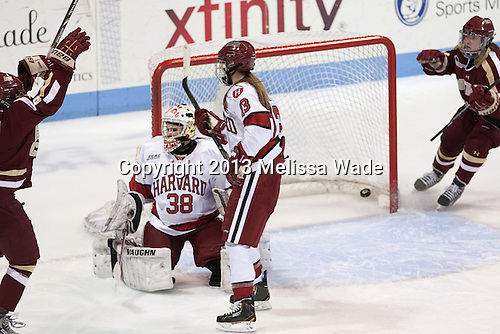 Dana Trivigno (BC - 8) ties the game at 1. - The Boston College Eagles defeated the Harvard University Crimson 2-1 in the 2013 Beanpot opening round on Tuesday, February 5, 2013, at Matthews Arena in Boston, Massachusetts.