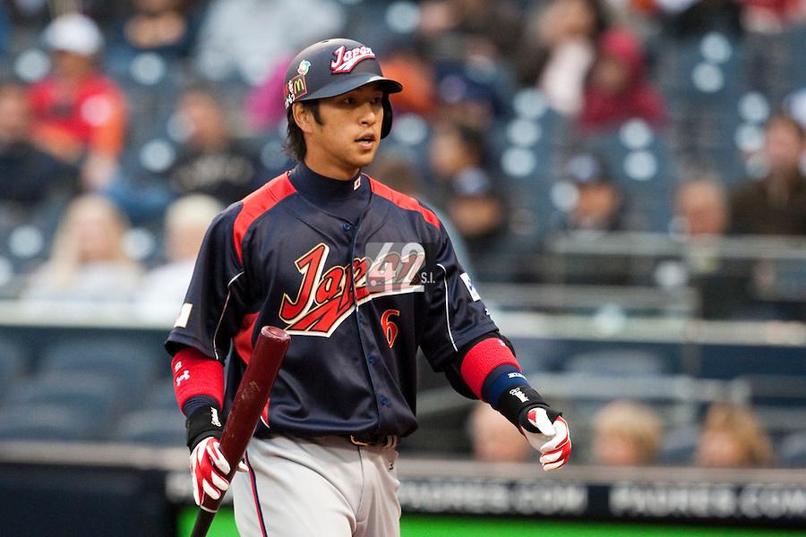 19 March 2009: #6 Hiroyuki Nakajima of Japan is seen at bat during the 2009 World Baseball Classic Pool 1 game 6 at Petco Park in San Diego, California, USA. Japan wins 6-2 over Korea.
