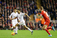Neil Taylor during the Barclays Premier League Match between Liverpool and Swansea City played at Anfield, Liverpool on 29th November 2015
