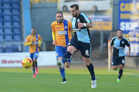Wycombe Wanderers captain Paul Hayes plays the ball forward during the Sky Bet League 2 match between Mansfield Town and Wycombe Wanderers at the One Call Stadium, Mansfield, England on 31 October 2015. Photo by Garry Griffiths.