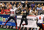 SIOUX FALLS, SD - MAY 16:  Judd Harrold #20 from the Sioux Falls Storm makes a one handed catch between Jory Johnson #28 and Mike McMillian #8 form the Bemidji Axemen in the second half of their game Saturday night at the Sioux Falls Arena. (Photo by Dave Eggen/Inertia)