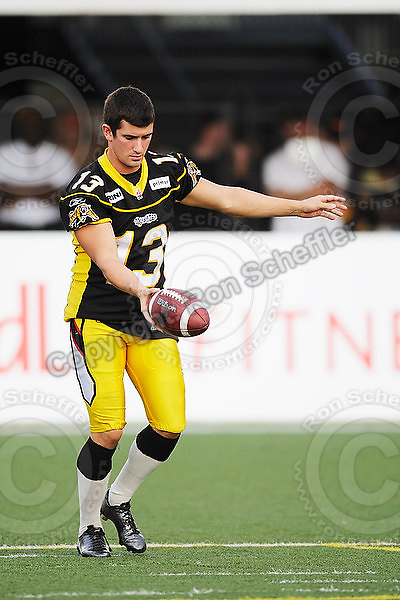 July 31, 2009; Hamilton, ON, CAN; Hamilton Tiger-Cats kicker Nick Setta (13). CFL football: BC Lions vs. Hamilton Tiger-Cats at Ivor Wynne Stadium. The Tiger-Cats defeated the Lions 30-18. Mandatory Credit: Ron Scheffler. Copyright (c) 2009 Ron Scheffler.