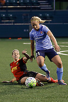 Rochester, NY - Saturday May 21, 2016: Western New York Flash midfielder Alanna Kennedy (8) goes for a tackle on Sky Blue FC forward Leah Galton (21). The Western New York Flash defeated Sky Blue FC 5-2 during a regular season National Women's Soccer League (NWSL) match at Sahlen's Stadium.