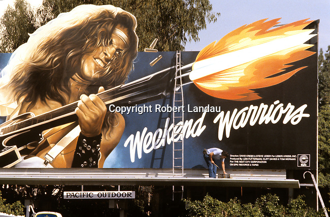 Ted Nugent billboard for the record Weekend Warrors on the Sunset Strip in Los Angeles, CA
