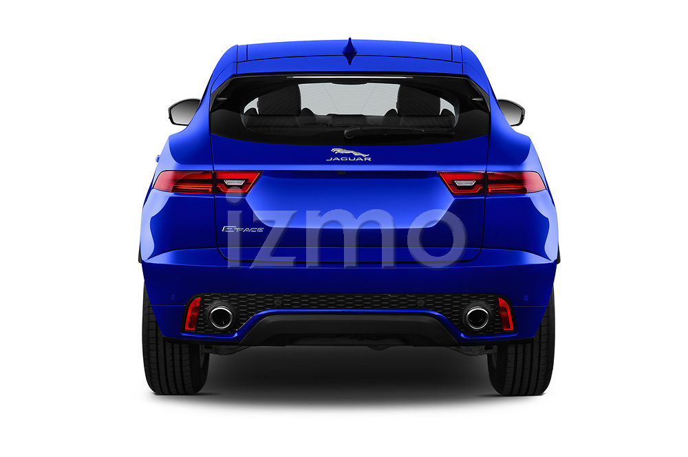 Straight rear view of a 2018 Jaguar E-PACE R-Dynamic S 4WD 5 Door SUV stock images