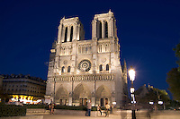 France Night color photo shot of the  Famous Notre Dame Cathedral in Paris France