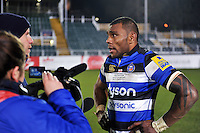 Semesa Rokoduguni of Bath Rugby is interviewed after the match. Aviva Premiership match, between Bath Rugby and Northampton Saints on February 10, 2017 at the Recreation Ground in Bath, England. Photo by: Patrick Khachfe / Onside Images