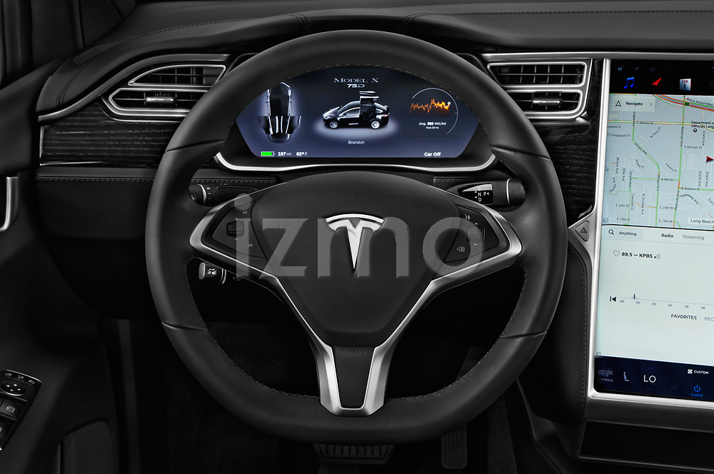 Car pictures of steering wheel view of a 2017 Tesla Model-X 75D 5 Door SUV Steering Wheel