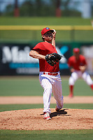 Clearwater Threshers relief pitcher Jeff Singer (24) delivers a pitch during a game against the Fort Myers Miracle on April 25, 2018 at Spectrum Field in Clearwater, Florida.  Clearwater defeated Fort Myers 9-5. (Mike Janes/Four Seam Images)
