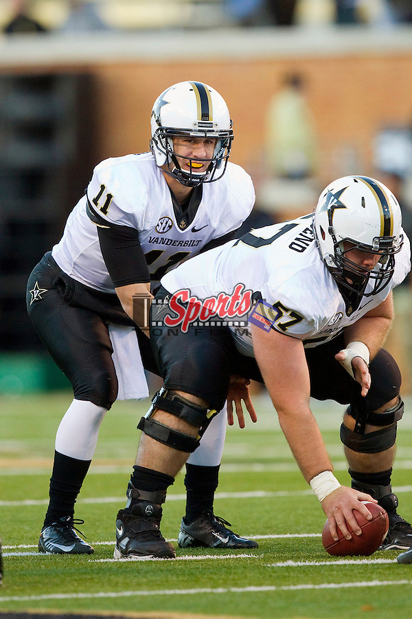 Vanderbilt Commodores quarterback Jordan Rodgers lines up under center Joe Townsend (57) during first half action against the Wake Forest Demon Deacons at BB&T Field on November 24, 2012 in Winston-Salem, North Carolina.  The Commodores defeated the Demon Deacons 55-21.  (Brian Westerholt/Sports On Film)