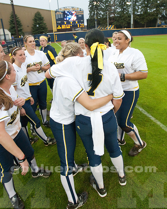 University of Michigan softball 9-8 victory over Notre Dame in NCAA Regional play in Ann Arbor, MI, on May 21, 2011.