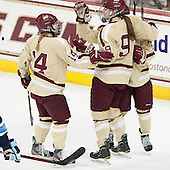 Emily Pfalzer (BC - 14), Taylor Wasylk (BC - 9), Dana Trivigno (BC - 8) - The Boston College Eagles defeated the visiting University of Maine Black Bears 10-0 on Saturday, December 1, 2012, at Kelley Rink in Conte Forum in Chestnut Hill, Massachusetts.