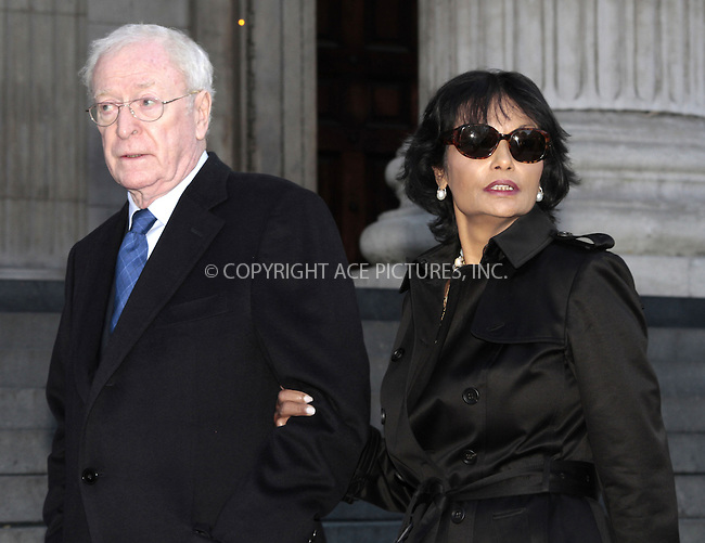 WWW.ACEPIXS.COM....US Sales Only....Sir Michael Caine and his wife Shakira Caine at the memorial service for Vidal Sassoon at St Pauls Cathedral on October 12 2012  in London ....By Line: Famous/ACE Pictures......ACE Pictures, Inc...tel: 646 769 0430..Email: info@acepixs.com..www.acepixs.com
