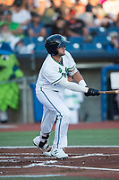 Hillsboro Hops designated hitter Joey Rose (21) follows through on a swing during a Northwest League game against the Salem-Keizer Volcanoes at Ron Tonkin Field on September 1, 2018 in Hillsboro, Oregon. The Salem-Keizer Volcanoes defeated the Hillsboro Hops by a score of 3-1. (Zachary Lucy/Four Seam Images)