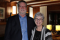 NWA Democrat-Gazette/CARIN SCHOPPMEYER Joel and Lynn Carver welcome guests to their Springdale home for the Arts Arising Gala VIP reception Feb. 24.