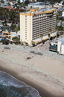 Crowne Plaza Hotel and Ventura Beach Aerial Stock Photo
