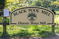 Sign to Black Pool Mill, near Canaston Bridge, Pembrokshire, Wales, UK