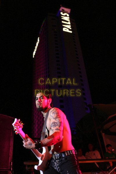 DAVE NAVARRO.Camp Freddy & The Panic Channel Perform at The Palms Pool Opening Party hosted by 944 Magazine held at The Palms Casino Resort, Las Vegas, Nevada, USA,.1 July 2006..half length live on stage concert gig band music chest topless guitar hotel tower in background.Ref: ADM/ZL.www.capitalpictures.com.sales@capitalpictures.com.©Zach Lipp/AdMedia/Capital Pictures.