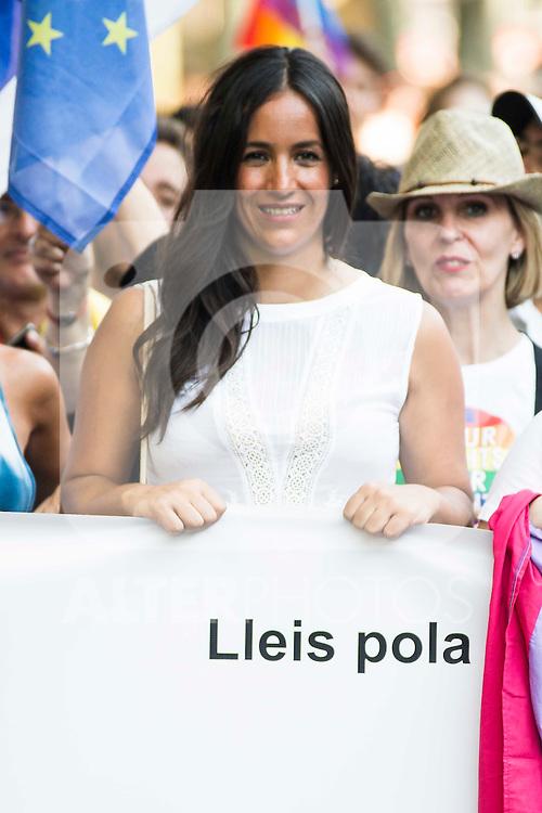 Begoña Villacis of Ciudadanos with the banner at protest Madrid Pride 2016. July 02. 2016. (ALTERPHOTOS/Borja B.Hojas)