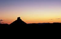 Mesa in desert twilight. Texas, Big Bend National Park.