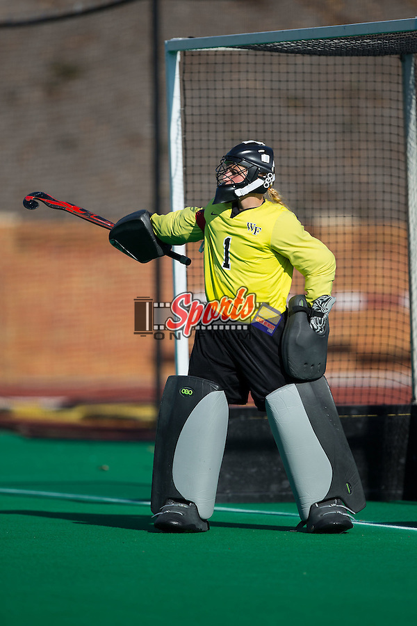 Valerie Dahmen (1) of the Wake Forest Demon Deacons yells instructions to her defense during second half action against the North Carolina Tar Heels at Kentner Stadium on October 23, 2015 in Winston-Salem, North Carolina.  The Demon Deacons defeated the Tar Heels 3-2.  (Brian Westerholt/Sports On Film)
