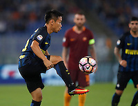 Calcio, Serie A: Roma vs Inter. Roma, stadio Olimpico, 2 ottobre 2016.<br /> FC Inter&rsquo;s Yuto Nagatomo in action during the Italian Serie A football match between Roma and FC Inter at Rome's Olympic stadium, 2 October 2016.<br /> UPDATE IMAGES PRESS/Isabella Bonotto
