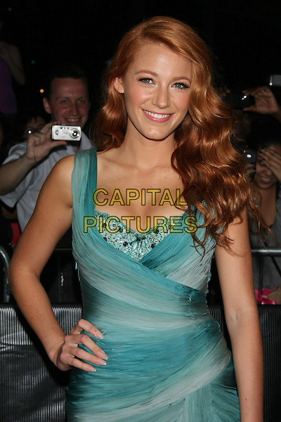 BLAKE LIVELY.attending the 2011 Edition of the TIME 100 Gala held at the Frederick P. Rose Hall, Home of Jazz at Lincoln Center,  New York, NY, April 26th, 2011..half length dress hand on hip blue turquoise smiling  green red dyed hair wavy cleavage ombre silk beaded bustier beauty .CAP/LNC/TOM.©LNC/Capital Pictures.