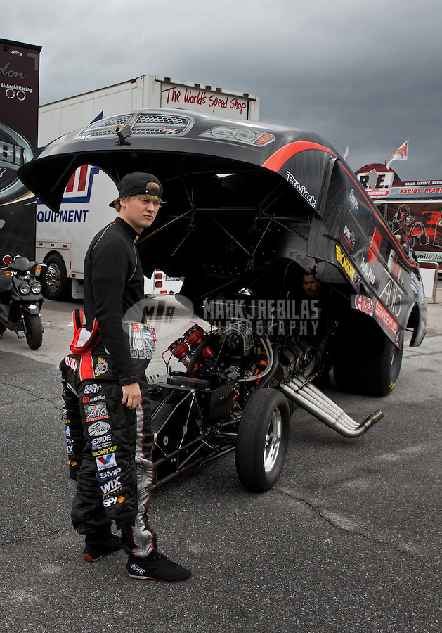 May 3, 2013; Commerce, GA, USA: NHRA funny car driver Blake Alexander during the Southern Nationals at Atlanta Dragway. Mandatory Credit: Mark J. Rebilas-