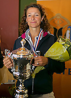 August 24, 2014, Netherlands, Amstelveen, De Kegel, National Veterans Championships, Prizegiving, Final 45 years+: winner Mariëlle Spekreijse (NED) <br />