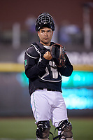 Dayton Dragons catcher Jose Duarte during a game against the Cedar Rapids Kernels on May 10, 2017 at Fifth Third Field in Dayton, Ohio.  Cedar Rapids defeated Dayton 6-5 in ten innings.  (Mike Janes/Four Seam Images)