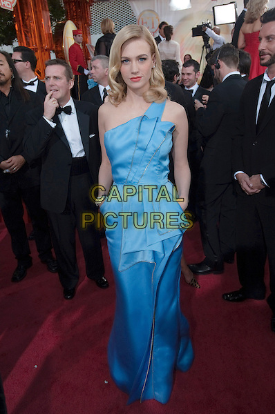 JANUARY JONES .Arrivals at the 66th Annual Golden Globe Awards held at the Beverly Hilton Hotel, Beverly Hills, California, USA..January 11th, 2009.*Editorial Use Only* .globes blue silk satin blue pleats pleated one shoulder long maxi dress .CAP/AWF/HFPA .Supplied by Capital Pictures.