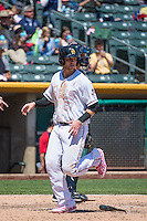 Jett Bandy (27) of the Salt Lake Bees in action against the Reno Aces in Pacific Coast League action at Smith's Ballpark on May 10, 2015 in Salt Lake City, Utah.  Salt Lake defeated Reno 9-2 in Game One of the double-header. (Stephen Smith/Four Seam Images)