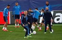 Real Madrid's coach Zinedine Zidane bandies as his players attend a practice session ahead of the Champions League round of 16 first leg football match against Roma, at Rome's Olympic stadium, 16 February 2016.<br /> UPDATE IMAGES PRESS/Riccardo De Luca