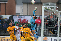 Joe Day of Newport County punches the ball clear during the Sky Bet League 2 match between Newport County and Barnet at Rodney Parade, Newport, Wales on 3 September 2016. Photo by Mark  Hawkins / PRiME Media Images.