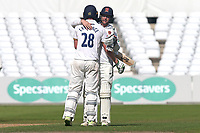 Tom Westley and Daniel Lawrence of Essex embrace after clinching victory during Nottinghamshire CCC vs Essex CCC, Specsavers County Championship Division 1 Cricket at Trent Bridge on 13th September 2018