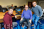 Leo Cullen (Dingle), Peter McGuire (Tralee) and Eamon Mulvihill (Ballybunion), are students at the Kerry ETB Centre in Monavalley on Monday who have signed up for a 15 week Software Development Bootcamp.