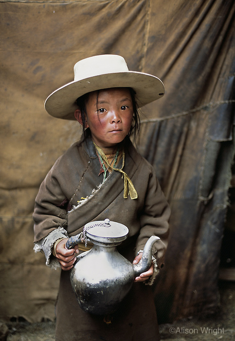 Tibet, Kham - Tibetan nomad boy in Degang Valley, near Litang, 2005.