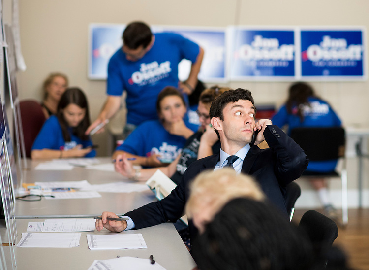 UNITED STATES - JUNE 120: Jon Ossoff, Democratic candidate for Georgia's 6th Congressional district, makes calls to voters in his Marietta, Ga., campaign office on special election day, June 20, 2017. Ossoff is facing off against Republican Karen Handel in the special election to fill the seat vacated by current HHS Secretary Tom Price. (Photo By Bill Clark/CQ Roll Call)
