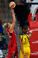Washington, DC - June 14, 2019: Washington Mystics forward Elena Delle Donne (11) goes up for a shoot over Seattle Storm center Mercedes Russell (2) during game between Seattle Storm and Washington Mystics at the St. Elizabeths East Entertainment and Sports Arena in Washington, DC. The Storm hold on to defeat the Mystics 74-71. (Photo by Phil Peters/Media Images International)