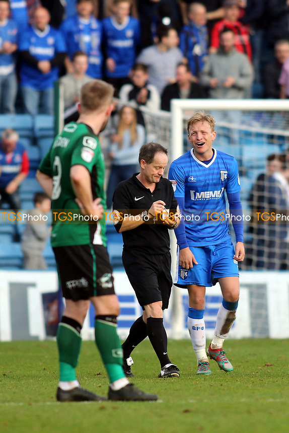 Gillingham's Josh Wright shows his frustration after receiving a yellow card for celebrating after scoring his third goal of the match during Gillingham vs Scunthorpe United, Sky Bet EFL League 1 Football at the MEMS Priestfield Stadium on 11th March 2017